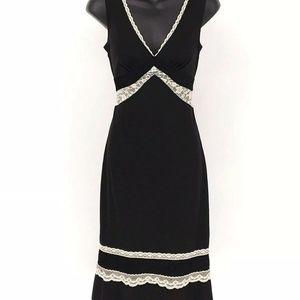 Express Slip Dress Women 4 Black Lace Details Deep
